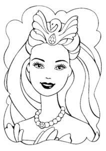 Барби бесплатная раскраска - Примерка короны