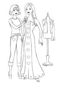 Примерка платья (Барби) распечатать бесплатную раскраску
