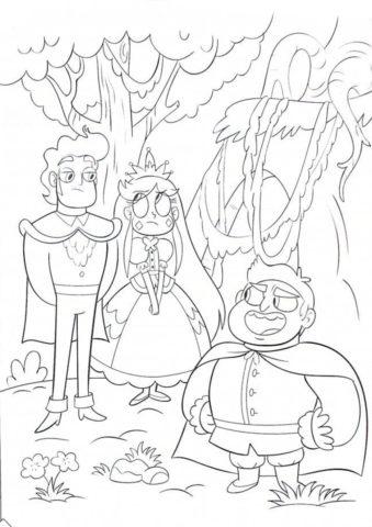 Раскраска Принц и принцесса распечатать на А4 - Стар против сил зла