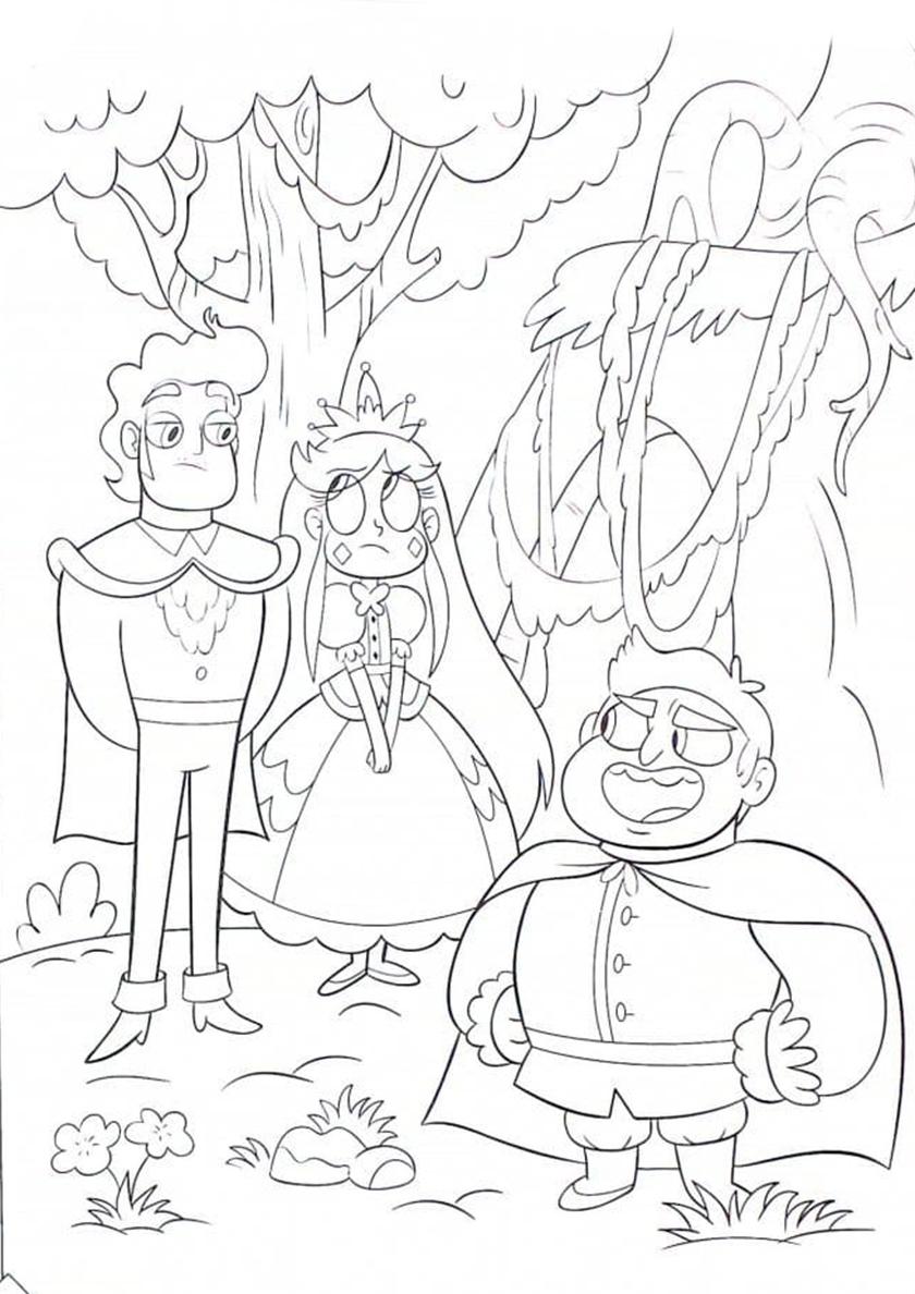 Раскраска Принц и принцесса распечатать | Стар против сил зла