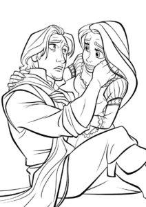 Принцесса беспокоится за Флина разукрашка скачать и распечатать - Рапунцель