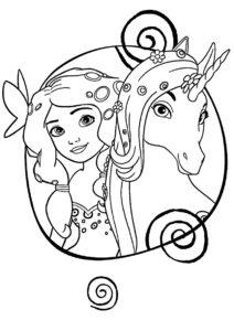Бесплатная разукрашка для печати и скачивания Принцесса и единорог - Единороги