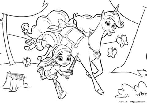Раскраска Принцесса и Тринкет спешат в бой распечатать | Нелла