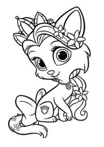 Бесплатная раскраска Принцесса кошечка распечатать и скачать - Коты, кошки, котята