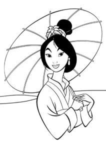 Мулан распечатать раскраску - Принцесса с китайским зонтиком