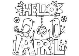 Привет апрель разукрашка скачать и распечатать - Весна