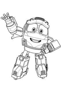 Раскраска Приветливый Кей распечатать на А4 и скачать - Роботы-поезда