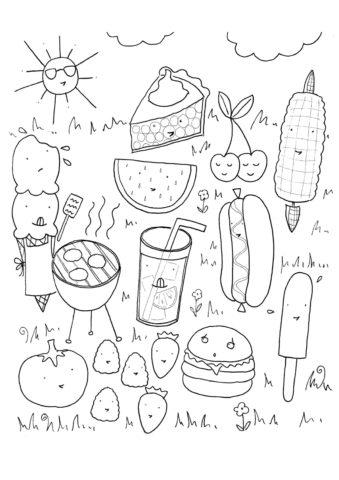 Продукты для пикника - Лето бесплатная раскраска