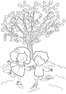 Прогулка (Весна) бесплатная раскраска на печать