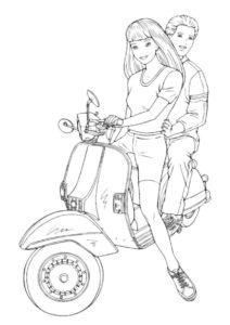 Барби бесплатная раскраска распечатать на А4 - Прогулка на мотороллере