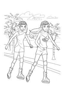 Бесплатная раскраска Прогулка на роликах распечатать на А4 и скачать - Барби