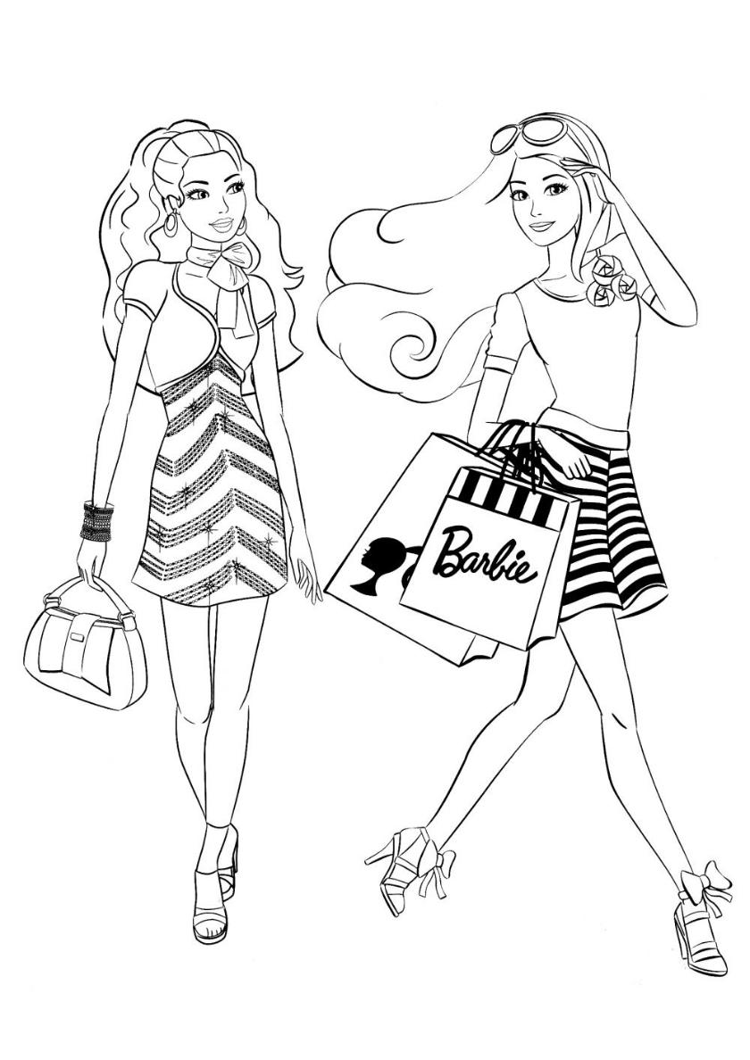 Раскраска Прогулка по магазинам распечатать   Барби