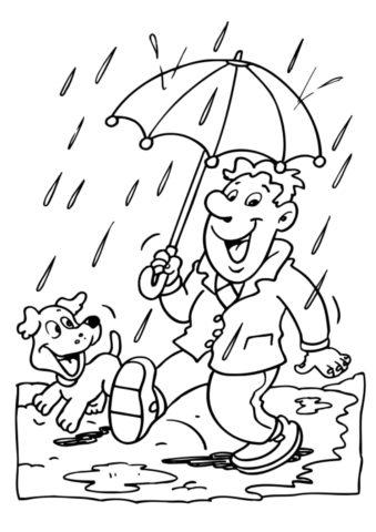 Раскраска Прогулка под дождем распечатать и скачать - Осень