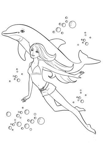 Прогулка с дельфином (Барби) распечатать раскраску