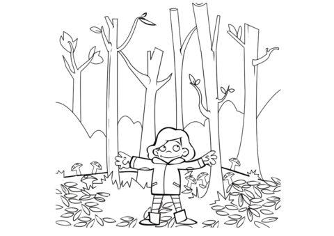 Бесплатная раскраска Прогулка в осеннем лесу распечатать на А4 - Осень