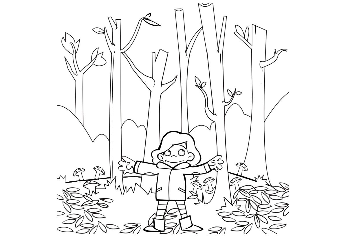 Раскраска Прогулка в осеннем лесу распечатать | Осень