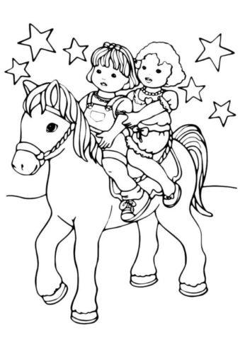 Прогулка верхом распечатать разукрашку бесплатно - Лошади и пони