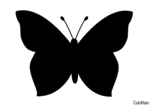Трафарет Простейшая бабочка распечатать и скачать - Трафареты бабочек