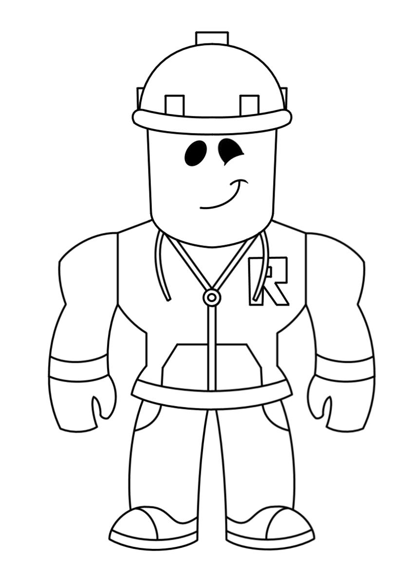 Раскраска Простой строитель распечатать | Роблокс