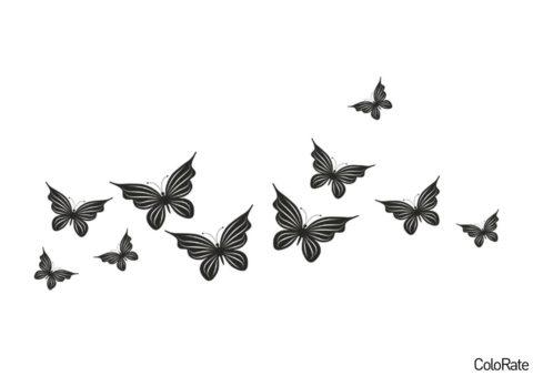 Трафареты бабочек бесплатный трафарет - Простой узор из мотыльков