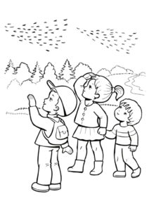 Провожаем птиц в теплые края распечатать и скачать раскраску - Осень