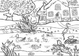 Бесплатная разукрашка для печати и скачивания Пруд в деревне - Весна