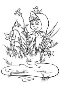 Маша и Медведь распечатать раскраску - Прятки с лягушкой