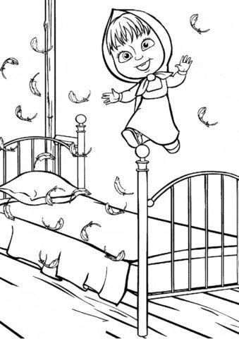 Маша и Медведь бесплатная разукрашка - Прыжки на кровати