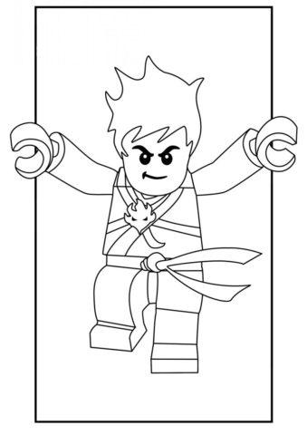 Прыжок Кая разукрашка скачать и распечатать - LEGO Ниндзяго