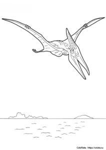 Динозавры бесплатная разукрашка - Птеранодон на охоте