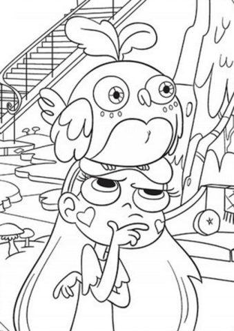 Птица на голове у Баттерфляй раскраска распечатать на А4 - Стар против сил зла