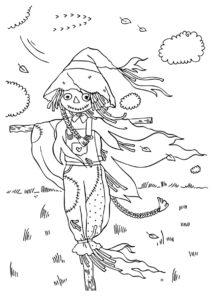 Осень бесплатная раскраска - Пугало с косичками