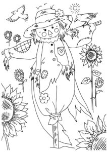 Осень бесплатная раскраска - Пугало в подсолнухах