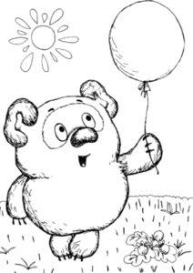 Винни Пух бесплатная раскраска - Пух и шарик