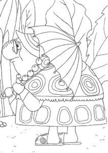 Лунтик бесплатная раскраска - Путешествие Тети Моти