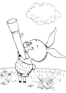 Пятачок держит ружье (Винни Пух) раскраска для печати и загрузки