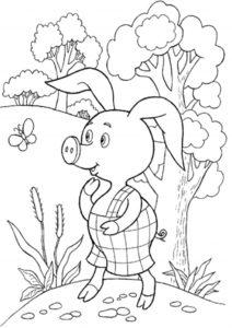 Разукрашка Пятачок гуляет по лесу распечатать и скачать - Винни Пух