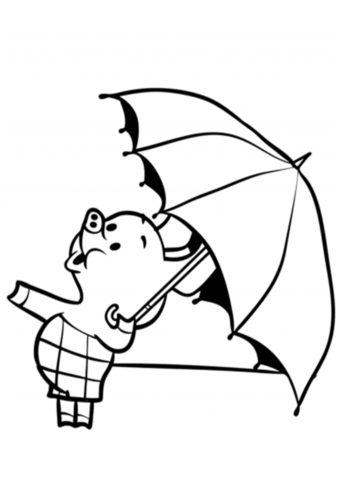 Разукрашка Пятачок с зонтиком распечатать на А4 - Винни Пух