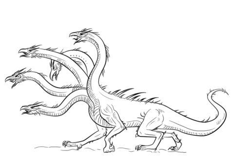 Разукрашка Пятиголовый дракон распечатать на А4 - Драконы