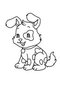 Собаки и щенки распечатать раскраску - Пятнистый щенок