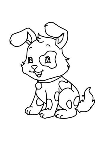 Раскраска Пятнистый щенок распечатать | Собаки и щенки