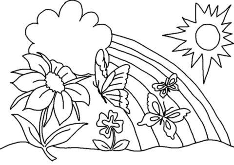 Раскраска Радуга распечатать | Весна