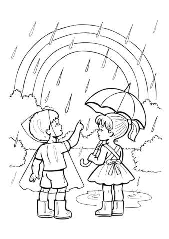 Радуга под дождем раскраска распечатать и скачать - Осень