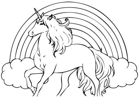 Радуга в облаках - Единороги распечатать раскраску на А4