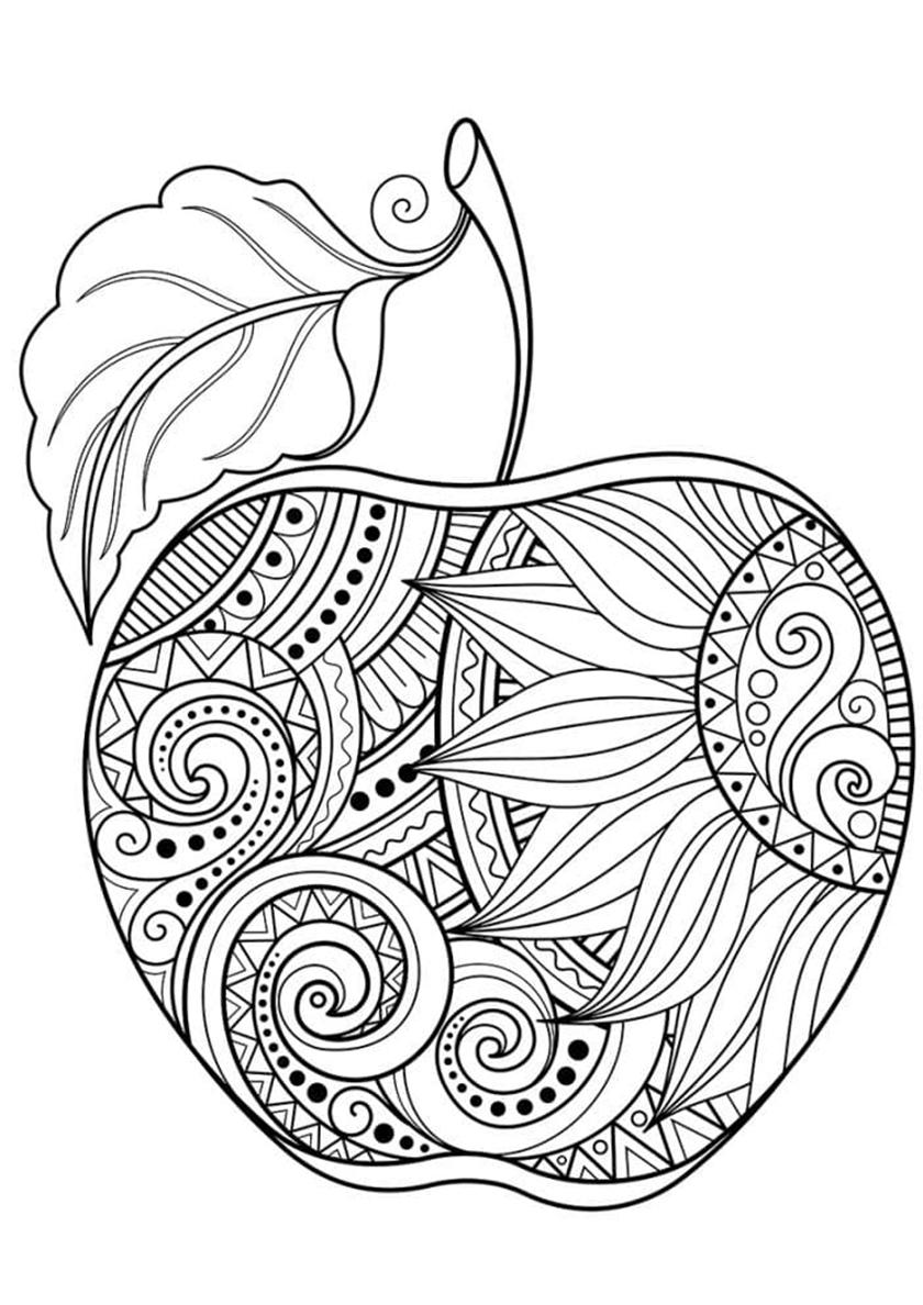 Раскраска Расписное яблочко распечатать | Яблоко