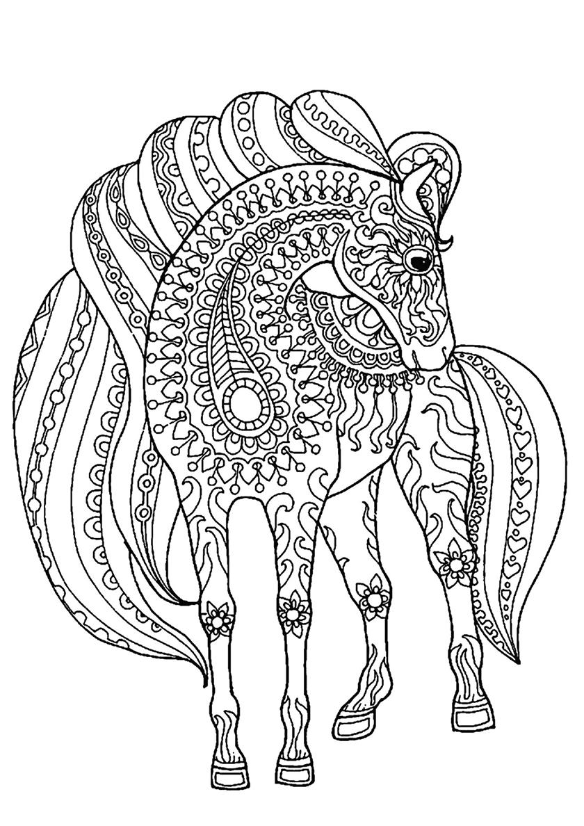 Раскраска Расписной конь распечатать   Лошади и пони