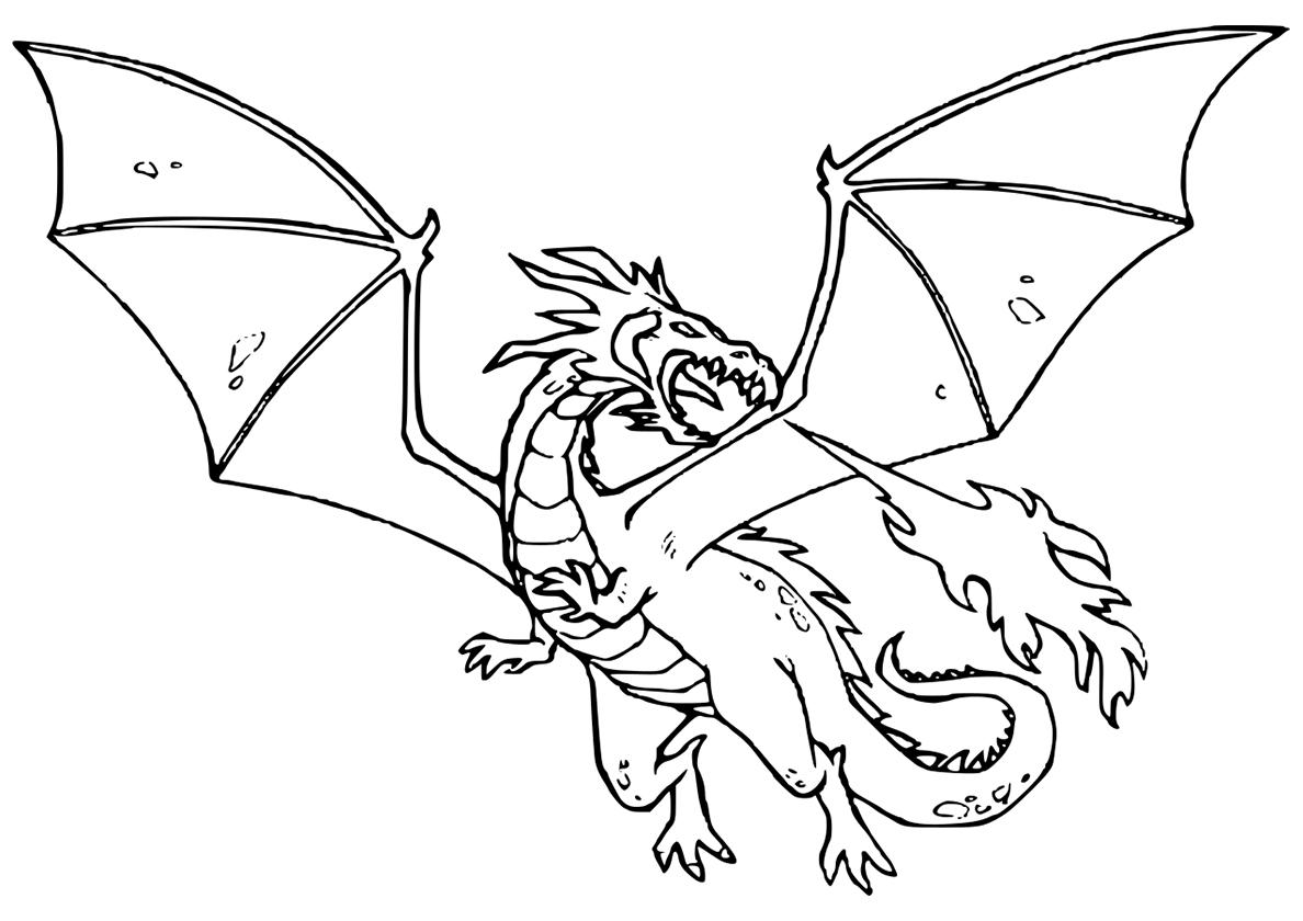 Раскраска Разъяренный дракон распечатать | Драконы