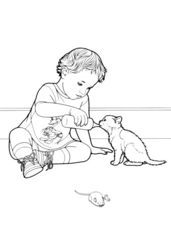 Ребенок поит котенка (Коты, кошки, котята) бесплатная раскраска на печать
