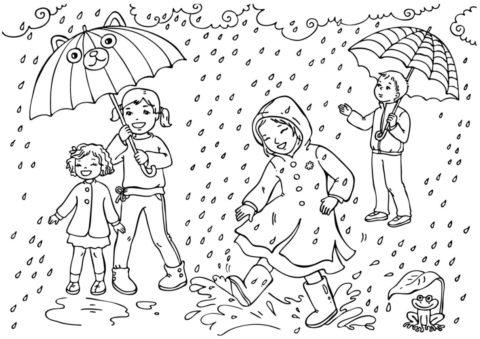 Весна бесплатная разукрашка - Ребята под дождем