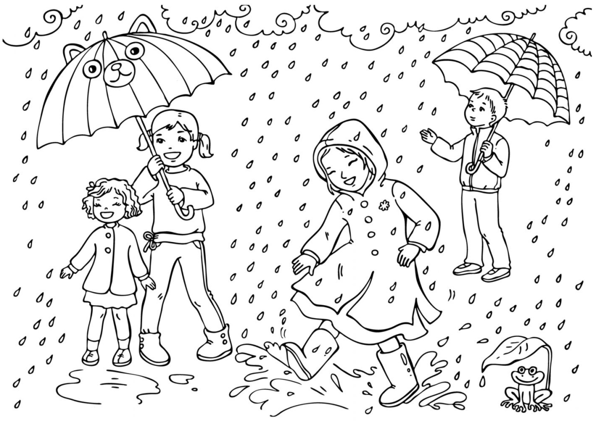 Раскраска Ребята под дождем распечатать | Весна